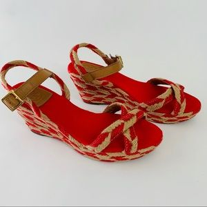 Tory Burch Red WEDGES Sandals Espadrille Braided